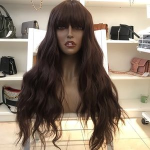 Human hair blend dark brown wig